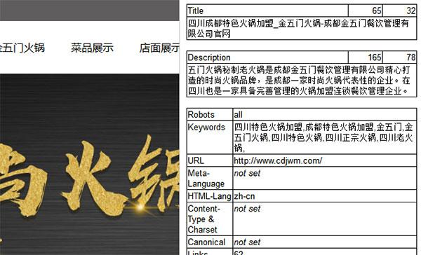 金五门火锅网站的标题和描述
